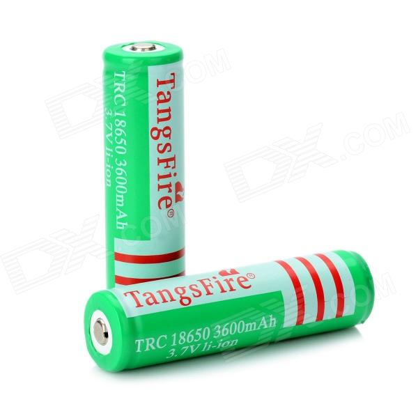 TangsFire Rechargeable 3600mAh 18650 Lithium Batteries - Green (2 PCS) liitokala 2pcs li ion 18650 3 7v 2600mah batteries rechargeable battery with portable battery box and 2 slots usb smart charger