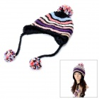 Women's Knitted Beanie Hat / Cap Ear Flaps w/ Ball Scarf Snood Shawl - Black