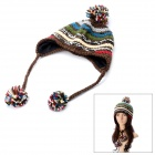 Women's Knitted Beanie Hat / Cap Ear Flaps w/ Ball Scarf Snood Shawl - Coffee