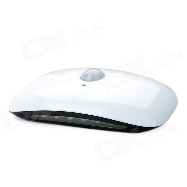 0.5W Light-Operated / Human Body Infrared Induction 6-LED Broad Bean Lamp - White (2 x 6F22)