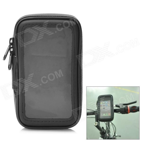 Water Resistant Bicycle Protective Handlebar Bag Pouch for Iphone 4 / 4S - Black protective pu leather pouch bag for iphone 5 4 4s coffee