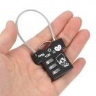 Mini T-Shirt Style Stainless Steel Password Code Travel Suitcase Lock - Black