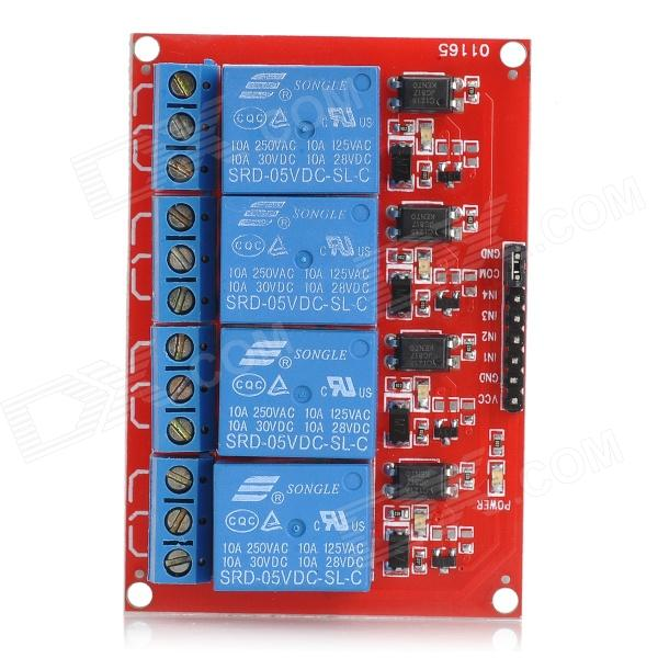 цена на 5V 4 Channel High Level Trigger Relay Module for Arduino (Works with Official Arduino Boards)