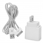 Dual USB AC Charger w / Data + Ladekabel für iPhone 4 / 4S + More - Weiß