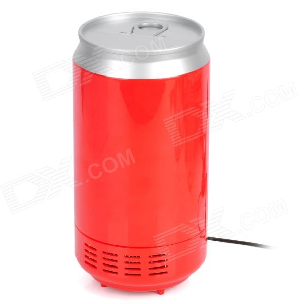 Mini USB Fridge Beverage Drink Cans Cooler / Warmer Refrigerator - Red + Silver