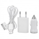 AC Power Adapter + Kfz-Ladegerät + USB-Kabel Set - White (EU Plug)