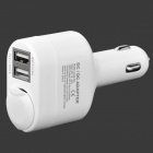Dual USB Ports Car Cigarette Powered Adapter - White (AC 12~24V)
