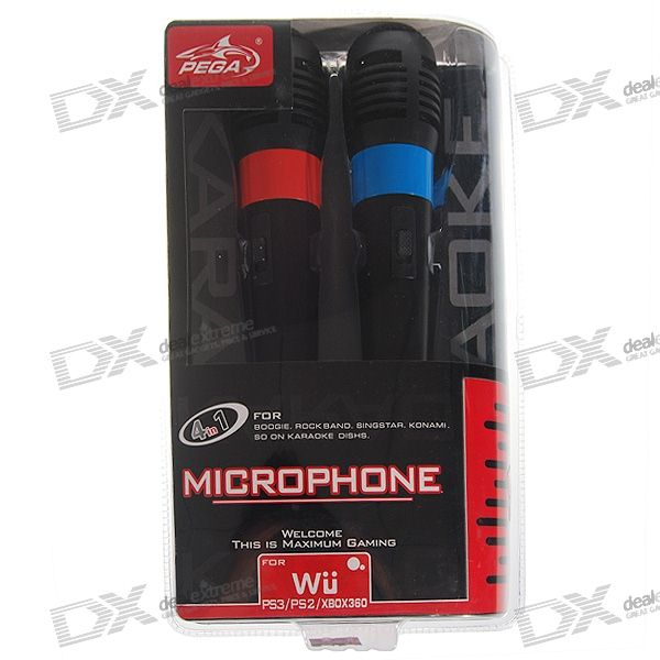 4-in-1 Universal USB Karaoke Microphone for Wii/PS3/PS2/Xbox360 (2-Pack)