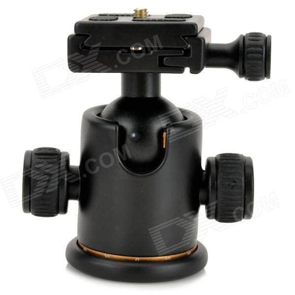 Aluminum Alloy Tripod Ball Head w/ Quick Release Plate - Black ye 306 aluminium magnesium alloy ball head w quick release plate adapter black