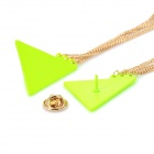 Elegant Triangle Alloy Shirt Collar Tips Necklace - Fluorescence Green