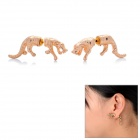 Cool Tiger Style Ear Studs Earrings - Golden (Pair)
