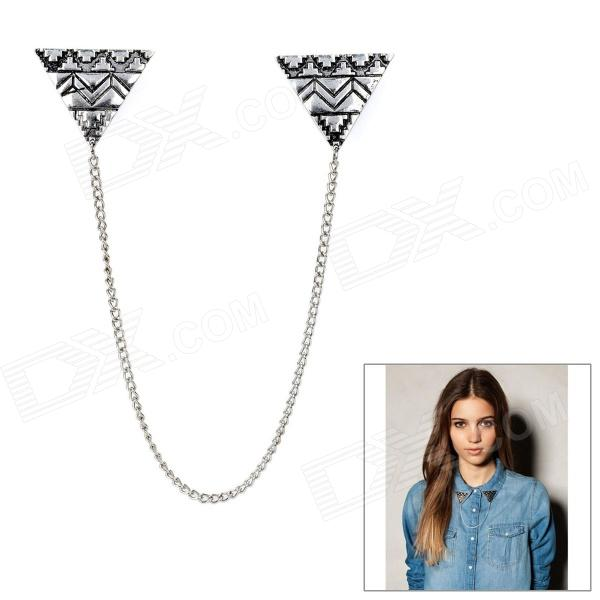 Elegant Triangle Alloy Shirt Collar Tips Necklace - Silver