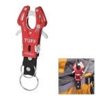 Portable Aluminum Alloy Carabiner Hook Holder with Key Ring - Red
