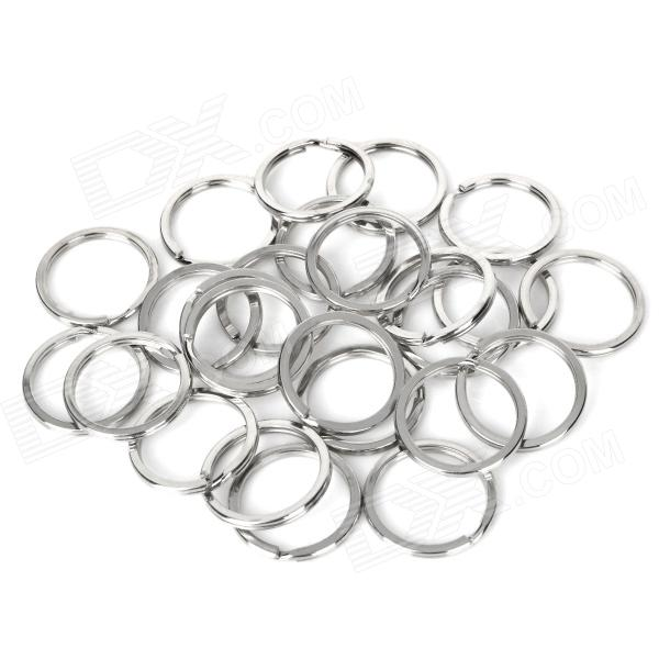 Simple Stainless Steel Key Rings - Silver (25 PCS)