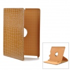 Crocodile Grain Pattern Swivel Protective PU Leather Case for Ipad 2 / The New Ipad - Brown