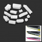 Protective Full Set Silicone Anti-Dust Plug Stopper for Laptop Notebook - White (13 PCS)