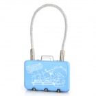 CJSJ CR-29 Mini Alloy 3-stellige PIN Kombination Pad Lock - Blue