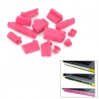 Protective Full Set Silicone Anti-Dust Plug Stopper for Laptop Notebook - Deep Pink (13 PCS)