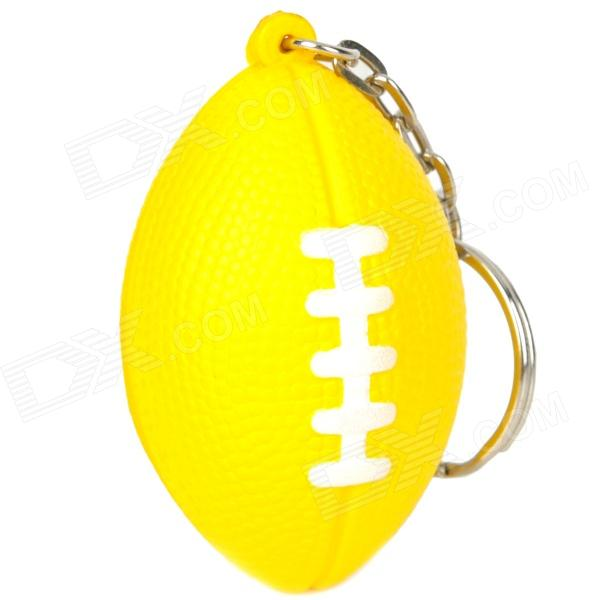 Creative American Football Shaped Sponge + Stainless Steel Keychain - Yellow