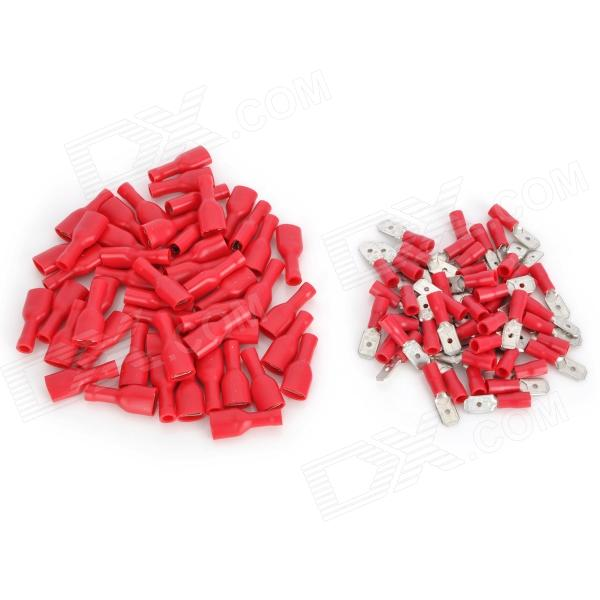 20406 Protection Insulated Female + Male Blade Connectors - Red (50 PCS)