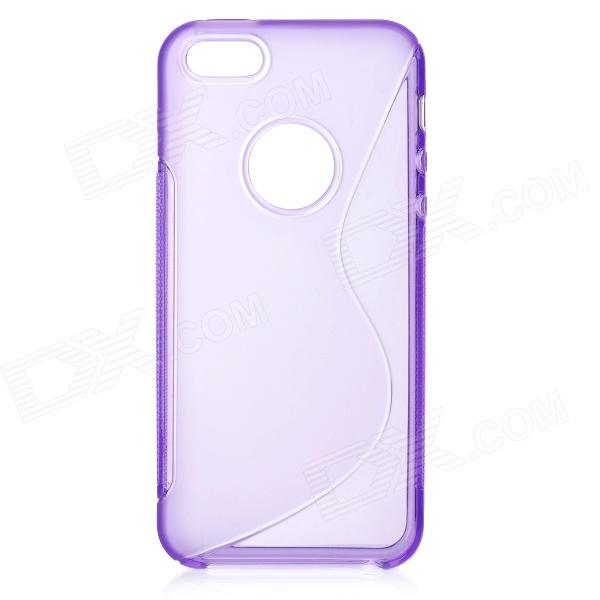 S Shaped Protective TPU Back Case for Iphone 5 - Purple protective pc tpu back case for iphone 5 w anti dust cover lavender purple