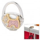Creative Little Dog Style Folding Bag Hanger Holder Hook w/ Crystal - White