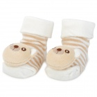 Cute Little Bear Pattern Baby-Non-Slip Socken - Brown + White (1 Paar)