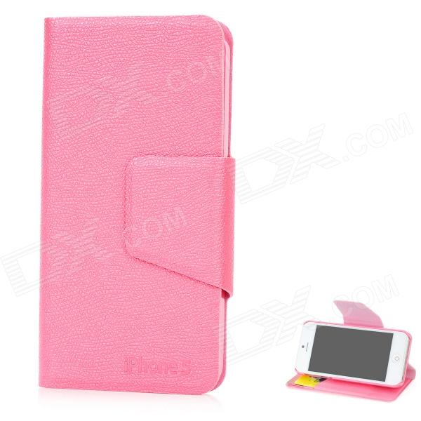 Lichee Pattern Ultra-Thin Protective PU Leather Flip Open Case for Iphone 5 - Pink rhombus pattern protective flip open pu leather case w card holder for iphone 5 deep pink