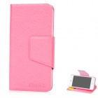 Lichee Pattern Ultra-Thin Protective PU Leather Flip Open Case for Iphone 5 - Pink