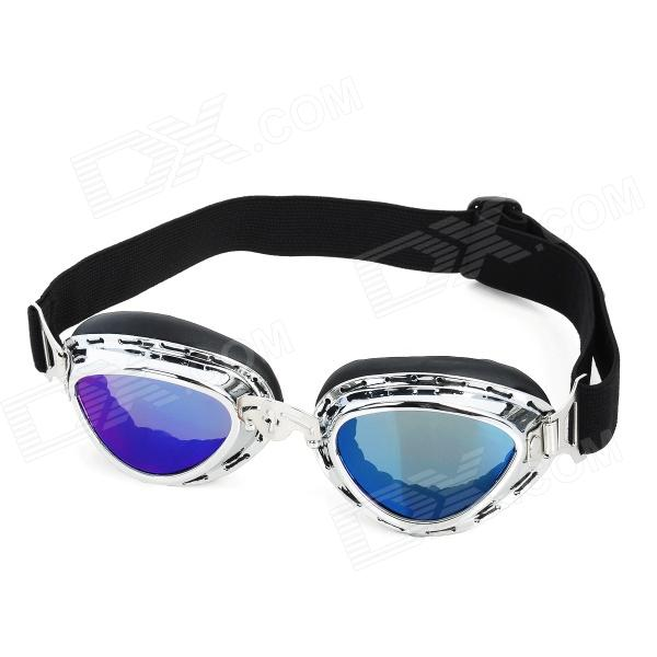 Fashion Folding Motorcycle Riding Eye Protection Glasses Goggle - Silver Frame stylish outdoor riding pc lens eye protection glasses goggle size l