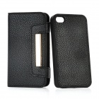 Protective Genuine Leather Cover with Plastic Detachable Back Case for iPhone 4 / 4S - Black