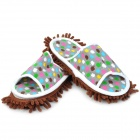 Lazy Chenille Detachable Washable Mop Slippers w/ Bottom Paste - Coffee