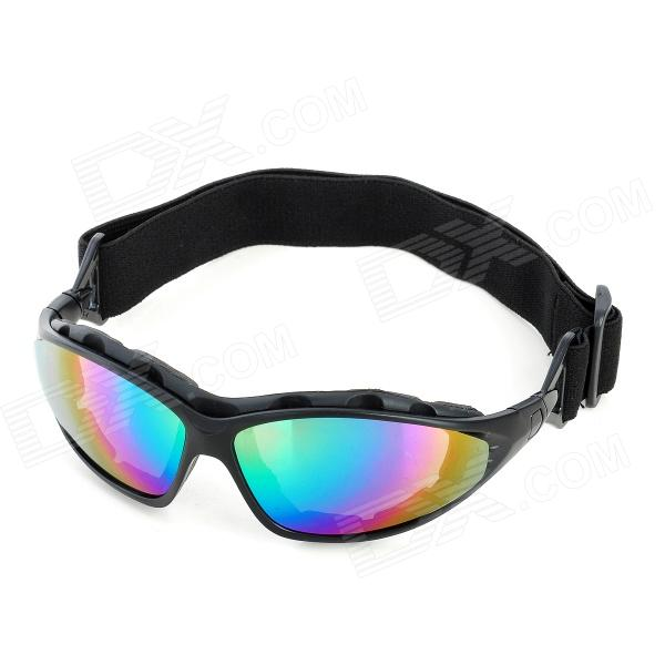 Fashion Reflective PC Lens Safety Motorcycle Goggles - Black Frame