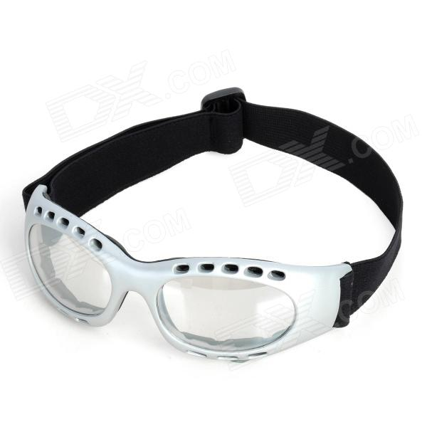 Fashion Transparent PC Lens Safety Motorcycle Goggles - Silver Frame