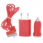 3-in-1 AC Power Adapter + Car Charger + USB Cable Set for iPhone 4 / 4S - Red (EU Plug)