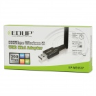 2.4G 802.11n/g/b 300Mbps Mini USB Wi-Fi Wireless Network LAN Card Adapter w/ 6dBi Antenna - Black