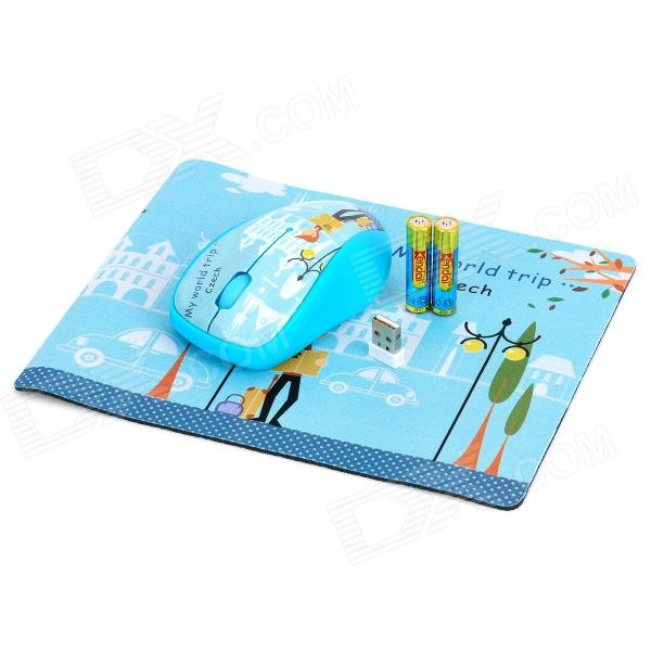 все цены на 1000DPI Wireless Optical Mouse + Mouse Pad w/ USB Receiver - Blue (2 x AAA)