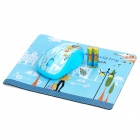 1000DPI Wireless Optical Mouse + Mouse Pad w/ USB Receiver - Blue (2 x AAA)