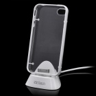 Charging Dock Station Stand Holder w/ Back Case for iPhone 4 / 4S - Transparent + White
