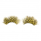 Dot Feather Style Makeup Fake Eyelashes Set - Yellow + Black (1 Pair)