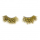 Dot Feather Style Makeup Artificial Eyelashes Set - Yellow + Black (1 Pair)