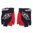 Motorcycle Riding Half Finger Protective Sports Gloves - Black + Red + White (Size L / Pair)