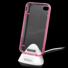 Charging Dock Station Stand Holder w/ Protective Case for iPhone 4 / 4S - Pink + Transparent