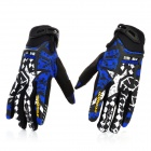 Scoyco Sporty Motorcycle Racing Full-Finger Gloves - Black + White + Blue (Pair / Size XL)