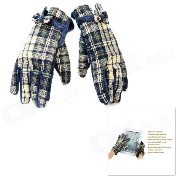 Capacitive Screen Touching Hand Warmer Gloves - Sapphire Blue (Pair)