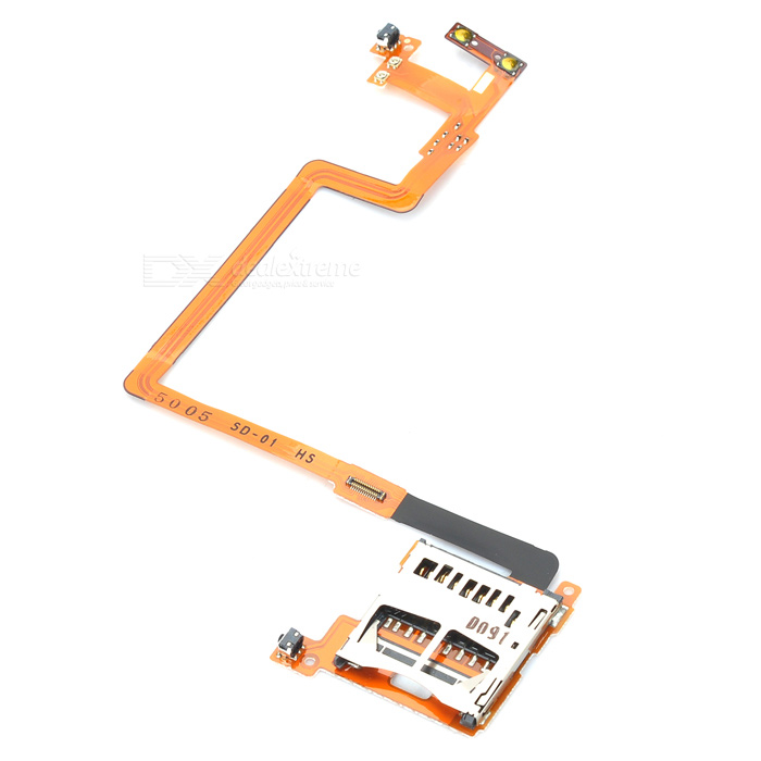 Replacement SD Card Slot Holder Flex Cable Ribbon for Nintendo DSi - Golden + Silver replacement sd card slot holder flex cable ribbon for nintendo dsi golden silver