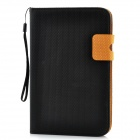 Basketball Grain Protective PU Leather Case for Samsung Galaxy Tab P3100 - Black + Orange