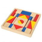 Intelligence Wooden Building Block Toy - Yellow + Blue + Red