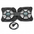 USB Powered 2-Fan Folding Laptop Notebook Cooling Pad Cooler - Black