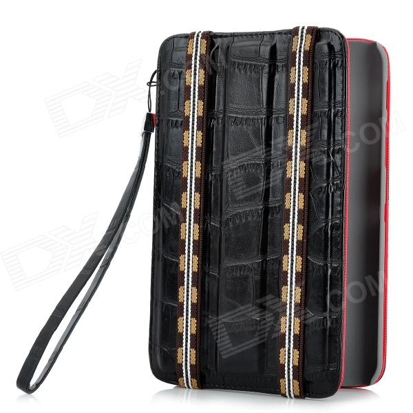 Alligator Pattern Protective PU Leather Case for Samsung P3100 - Black leo pattern protective abs pc hard back case w rhinestone for iphone 5 brown white